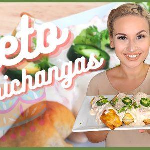 "Keto Chicken & ""Bean"" Chimichangas W/ White Queso"